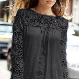 Filly Flair Black Crotchet lace sleeve mixed top